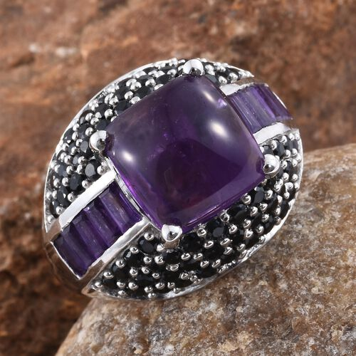 African Amethyst (Cush 7.55 Ct), Boi Ploi Black Spinel Ring in Platinum Overlay Sterling Silver 10.500 Ct. Silver wt. 7.60 Gms.