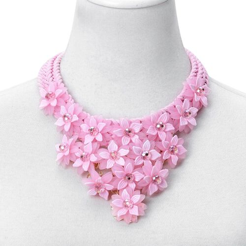 Simulated Pink Sapphire Floral Necklace (Size 18 with 2 inch Extender) in Yellow Gold Tone