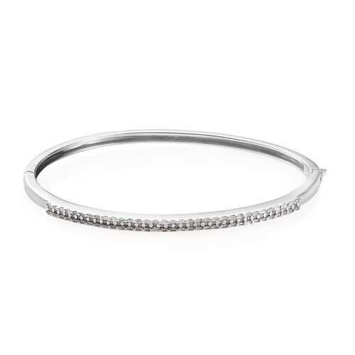 Diamond (Rnd) Bangle (Size 7.5) in Platinum Overlay Sterling Silver   0.750 Ct, Silver wt 14.00 Gms, Number of Diamonds 104.
