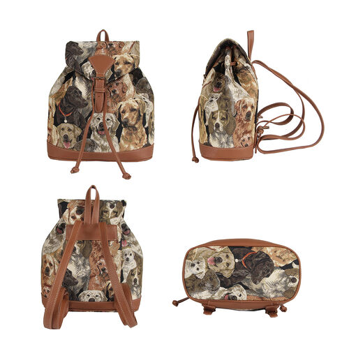 Signare Tapestry - 2 Piece Set - Cat Design Backpack and FREE Mackintosh Simple Rose Zip Coin Purse - Beige and Multi