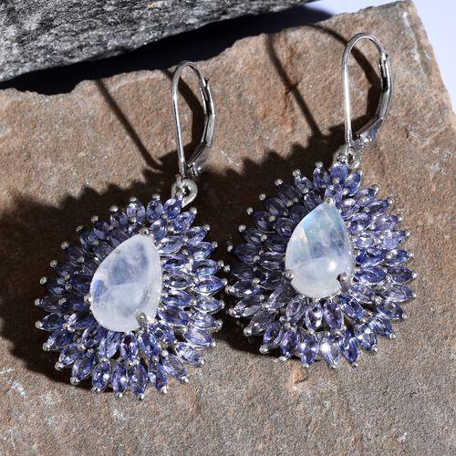 Sri Lankan Rainbow Moonstone (Pear), Tanzanite Drop Lever Back Earrings in Platinum Overlay Sterling Silver 16.000 Ct. Silver wt 9.94 Gms. Number of Gemstone 94
