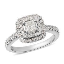 0.75 Ct Diamond Cluster Ring in 14K White Gold 4.40 Grams I1 I2 GH