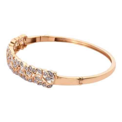 Designer Inspired- Diamond (Rnd) Bangle (Size 7.5) in 14K Gold Overlay Sterling Silver 0.250 Ct, Silver wt 16 Gms.