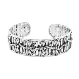 Royal Bali Collection - Sterling Silver Dragonfly Cuff Bangle (Size 7.5), Silver wt 49.00 Gms