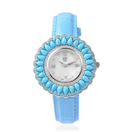 EON 1962 Swiss Movement Arizona Sleeping Beauty Turquoise and Natural White Cambodian Zircon Watch w