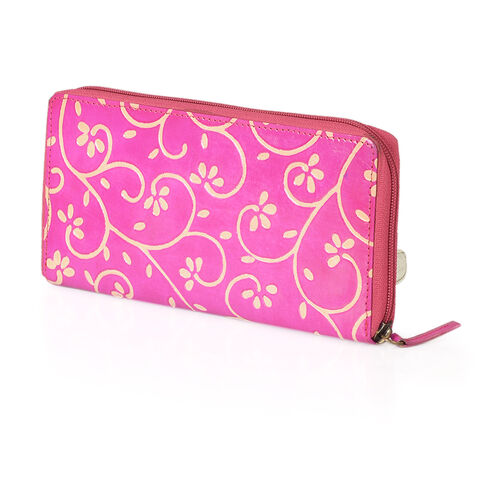 100% Genuine Leather Pink Colour RFID Blocker Twirl Pattern Ladies Wallet (Size 12x11.50x2 Cm)