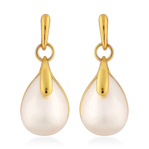 Designer Inspired- 2 Piece Set Simulated Pearl Earrings (with Push Back) and Necklace (Size 20 with 2 inch Extender) in Dual Tone