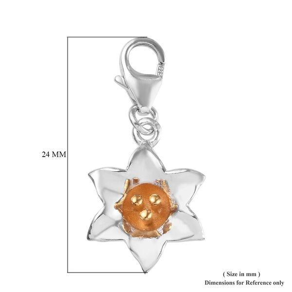 Lily of Valley May Birth Flower Charm in Platinum and Gold Plated Sterling Silver