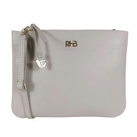 Assots London SOPHIA Pebble Grain Zip Top Leather Crossbody Bag in Grey (Size 15x20cm)