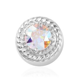 J Francis Crystal from Swarovski AB Crystal and White Colour Crystal Charm in Platinum Overlay Sterl