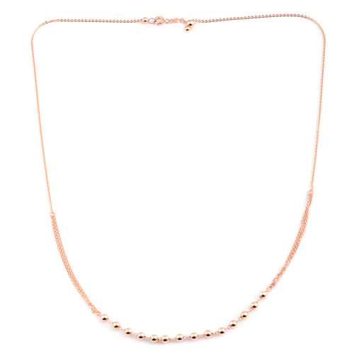 JCK Vegas Collection Rose Gold Overlay Sterling Silver Adjustable Bead Necklace (Size 20), Silver wt 3.00 Gms.