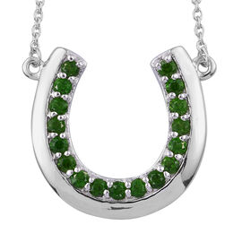 Russian Diopside (Rnd) Necklace in Platinum Overlay Sterling Silver 1.250 Ct. Silver Wt. 5.90 Gms