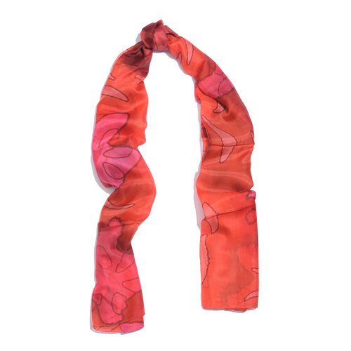 100% Mulberry Silk Tangerine and Multi Colour Handscreen Printed Scarf (Size 180X100 Cm)