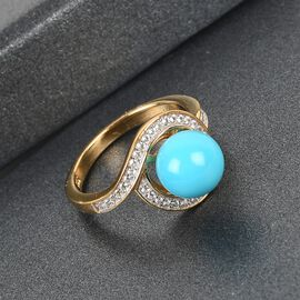 Arizona Sleeping Beauty Turquoise and Natural Cambodian Zircon  Ring in 14K Gold Overlay Sterling Si
