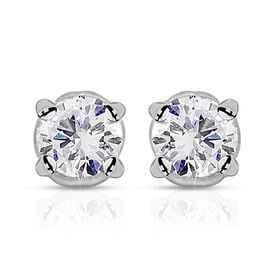 14K W Gold IGI Certified Diamond (Rnd) (I 2 /G-H) Earrings (with Screw Back) 0.500 Ct.