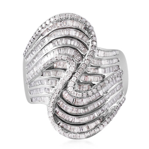 2 Carat Diamond Criss Cross Cocktail Ring in Platinum Plated Sterling Silver 9.50 Grams