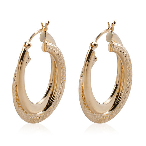 Designer Inspired- 9K Yellow Gold Double Hoop Earrings (with Clasp).Gold Wt 3.78 Gms
