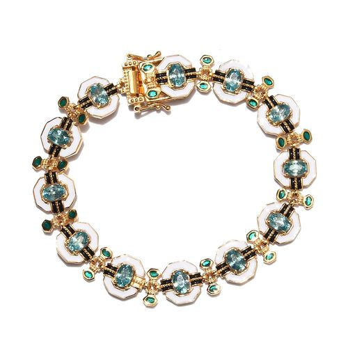 Ratanakiri Blue Zircon Enamelled Bracelet (Size 7.5) in 14K Gold Overlay Sterling Silver 6.00 Ct, Si