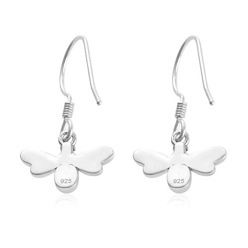 Platinum and Yellow Gold Overlay Sterling Silver Firefly Hook Earrings