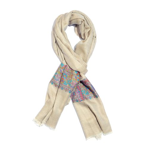 100% Cashmere Wool Cream Blue and Multi Colour Scarf with Floral Pattern Border L200x W70 Cm