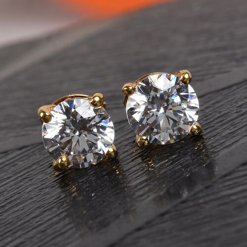 J Francis - 14K Gold Overlay Sterling Silver Stud Earrings (with Push Back) Made with SWAROVSKI ZIRCONIA 2.00 Ct.