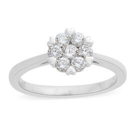 ILIANA 18K W Gold IGI Certified Diamond (Rnd) Floral Ring 0.500 Ct.