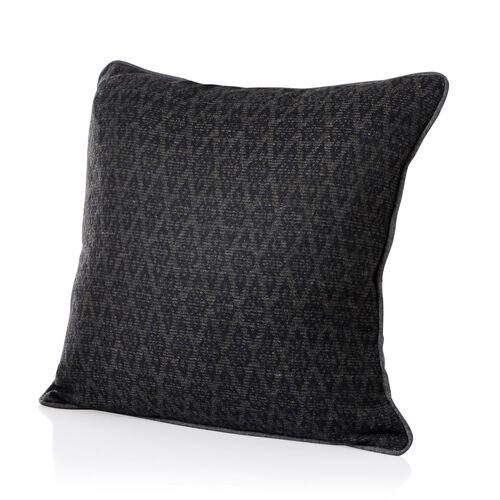 55% Wool Grey and Black Colour Jacquard Cushion (Size 43x43 Cm)