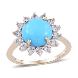 3 Carat AAA Sleeping Beauty Turquoise and Cambodian Zircon Halo Ring in 9K Gold 2.14 Grams