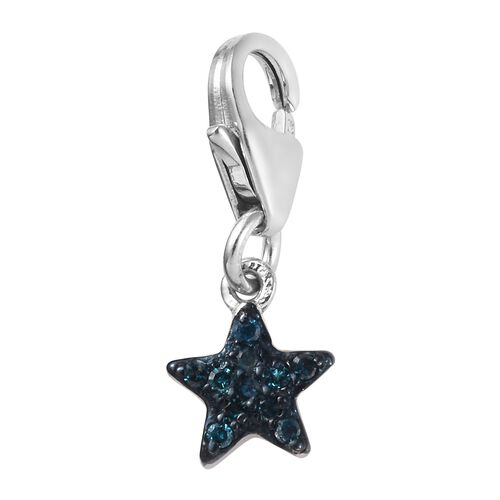 Blue Diamond (Rnd) Star Charm in Platinum and Blue Overlay Sterling Silver 0.05 Ct.