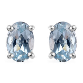 ILIANA 18K White Gold AAA Espirito Santo Aquamarine (Ovl) Stud Earrings (with Screw Back) 0.80 Ct.