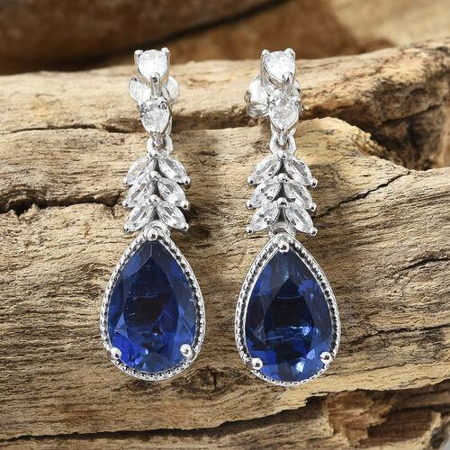 Ceylon Colour Quartz (Pear), Natural Cambodian Zircon Earrings (with Push Back) in Platinum Overlay Sterling Silver 11.750 Ct, Silver wt 6.89 Gms.