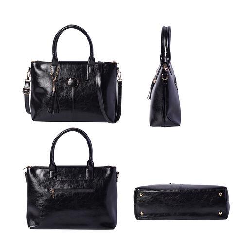 Solid Black Tote Bag (35x12x26cm) with Adjustable Shoulder Strap and Tassel