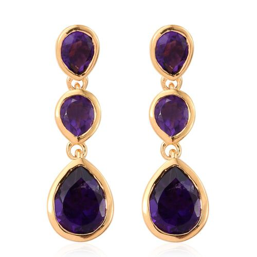 Amethyst (Pear) Earrings (with Push Back) in 14K Gold Overlay Sterling Silver 3.000 Ct.