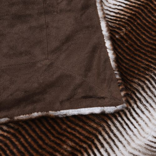 Super Soft Reversible Faux Fur Mink Animal Stripe Pattern Blanket (Size 200x150 cm) Total 660GSM
