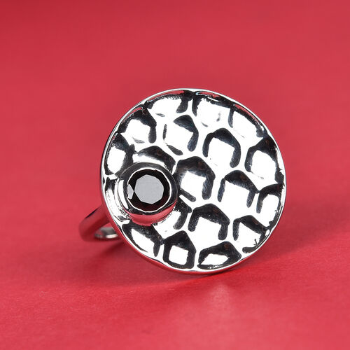 Boi Ploi Black Spinel Ring in Platinum Overlay Sterling Silver 0.50 Ct.