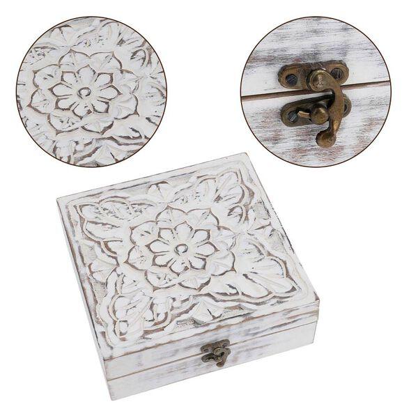 Mango Wood Antique Carving Work Jewellery Box (Size 15x14x14cm)