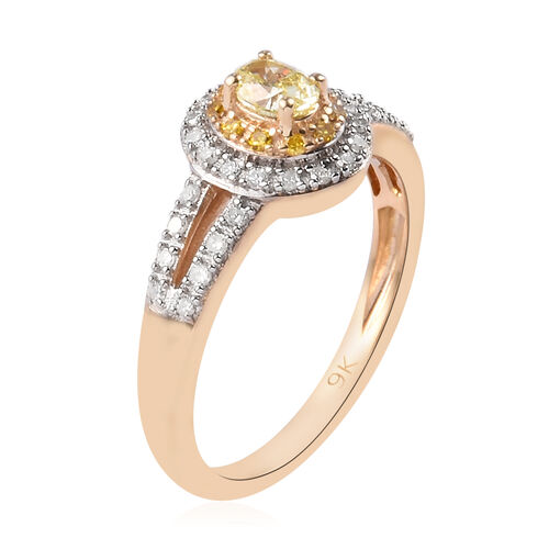 9K Yellow Gold Natural Yellow Diamond and Diamond Ring 0.50 Ct.