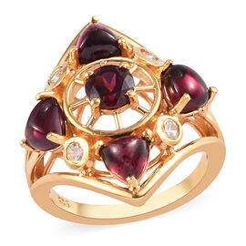 Rhodolite Garnet and Natural Cambodian Zircon Ring in 14K Gold Overlay Sterling Silver 4.75 Ct.