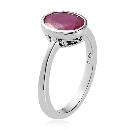RHAPSODY 950 Platinum AAAA Burmese Ruby Solitaire Ring 2.25 Ct, Platinum wt 5.00 Gms