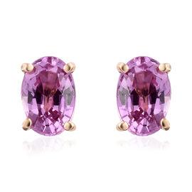 ILIANA 18K Yellow Gold AAA Pink Sapphire (Ovl) Stud Earrings (with Screw Back) 1.100 Ct