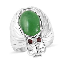 Green Jade (Ovl 14x10 mm), Mozambique Garnet Dragon Ring in Rhodium Overlay Sterling Silver 7.10 Ct,