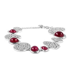 RACHEL GALLEY African Ruby (Ovl) Bracelet (Size 7-8.5) in Rhodium Overlay Sterling Silver 27.00 Ct,