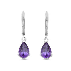 2.32 Ct Amethyst Solitaire Drop Earrings in Sterling Silver