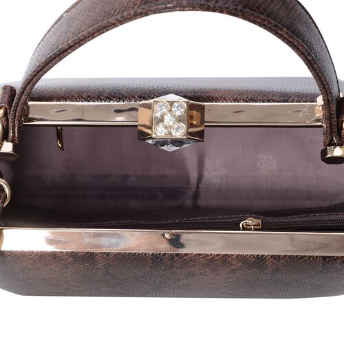Boutique Collection Vintage Style SnakeSkin Handbag  with  Shoulder Strap and Crystal and Simulated Diamond (Size 26x15x12.5 Cm)