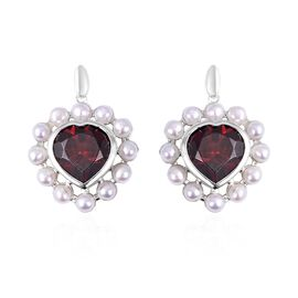 Mozambique Garnet (8.00 Ct),Fresh Water Pearl Sterling Silver Earring  11.750  Ct.