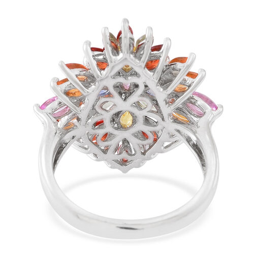 Rainbow Sapphire (Mrq) Cluster Ring in Rhodium Plated Sterling Silver 4.000 Ct.