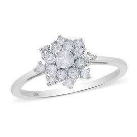9K White Gold SGL Certified Diamond (I3/G-H) Snowflake Ring 0.50 Ct.