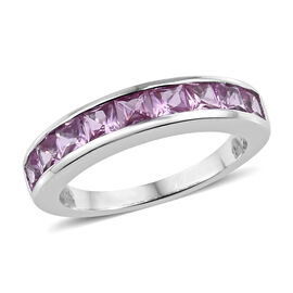 ILIANA 18K White Gold AAA Pink Sapphire (Sqr) Half Eternity Band Ring 1.500 Ct