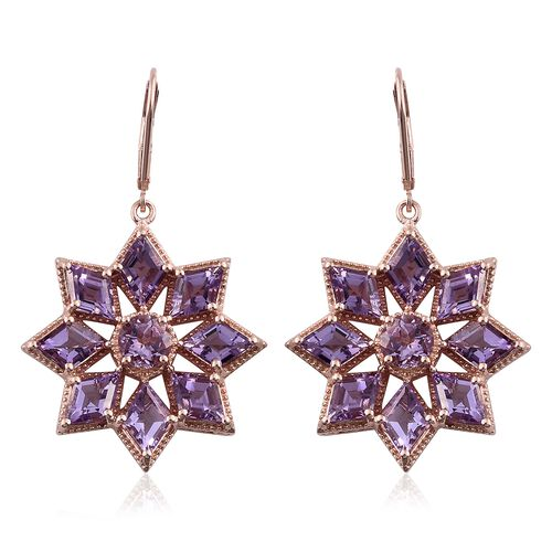 Rose De France Amethyst (KITE) Floral Lever Back Earrings in Rose Gold Overlay Sterling Silver 12.750 Ct. Silver wt. 10.67 Gms.