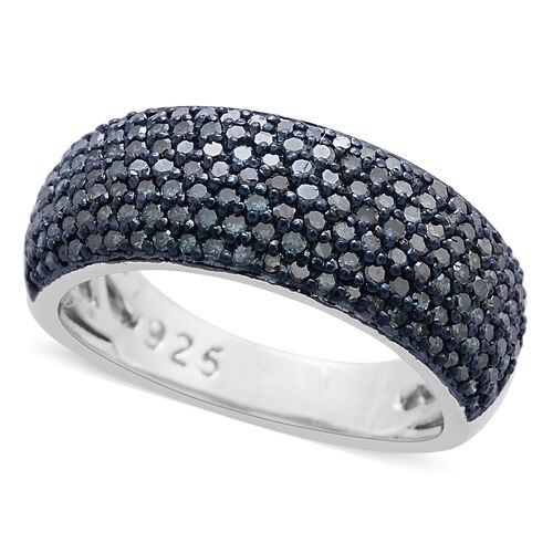 Blue Diamond (Rnd) Ring in Platinum Overlay Sterling Silver 1.000 Ct.